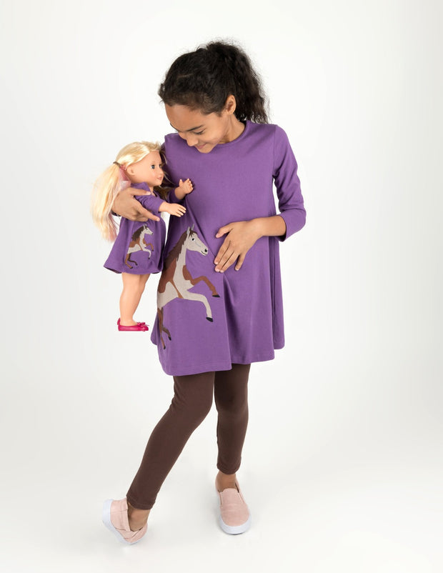Matching Girl and Doll Purple Horse Dress