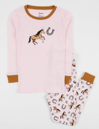 Kids Light Pink Horse Pajamas