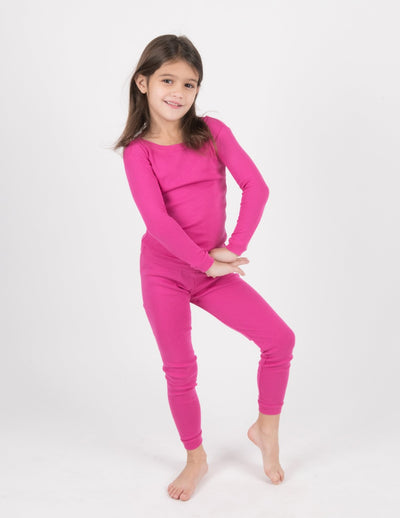 Kids Two Piece Solid Hot Pink Pajamas
