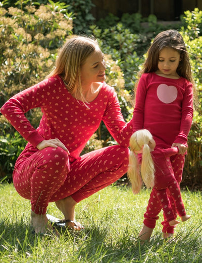 Matching Girl and Doll Pink Hearts Pajamas