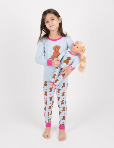 Matching Girl and Doll Cotton Puppy & Kitten Pajamas