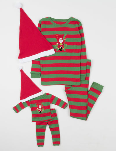 Matching Girl and Doll Cotton Santa Red & Green Stripes with Hat Pajamas