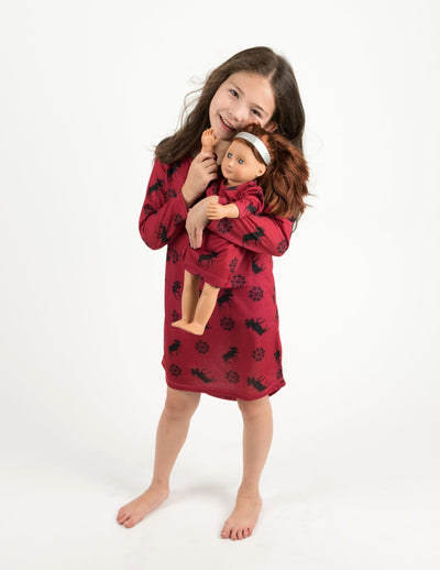 Matching Girl and Doll Moose Nightgown