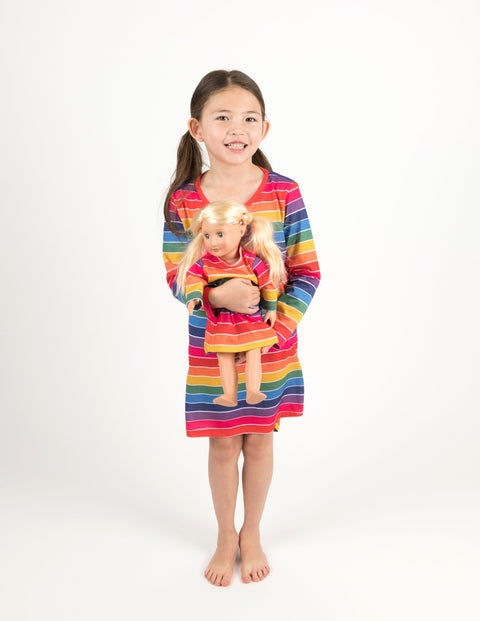 Matching Girl and Doll Rainbow Stripes Nightgown