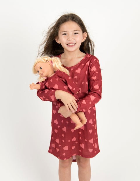 Matching Girl and Doll Pink Hearts Nightgown