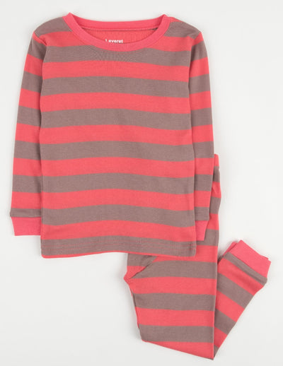 Kids Two Piece Rose & Antler Stripes Pajamas