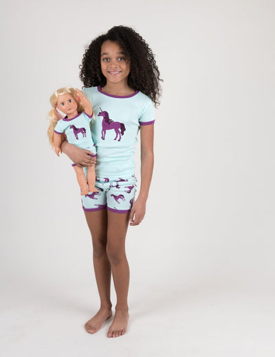 Matching Girl and Doll Unicorn Short Pajamas