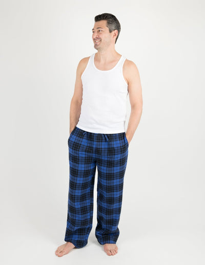 Mens Black & Navy Plaid Flannel Pants