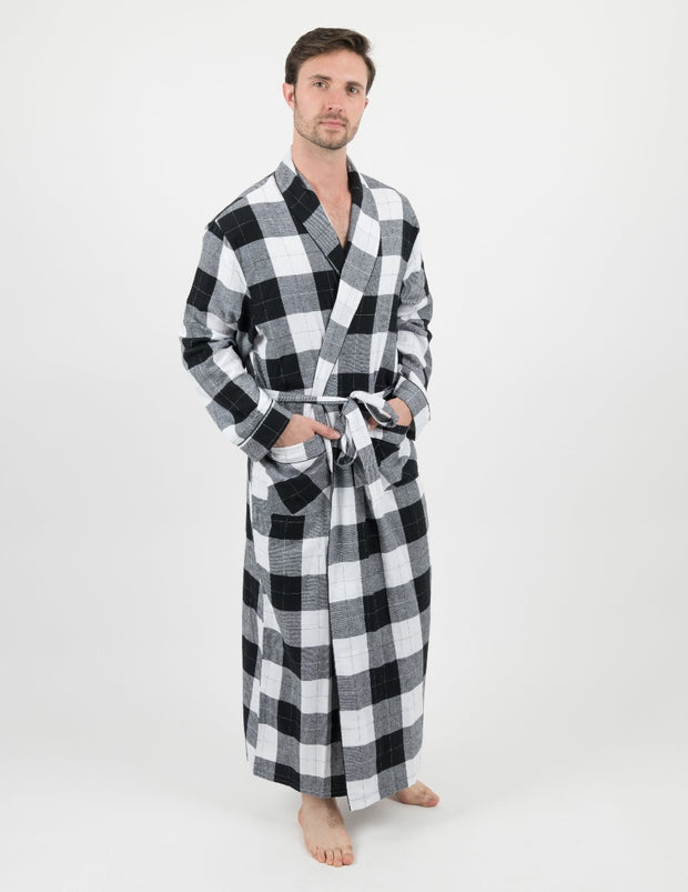 Mens Plaid & Print Flannel Robe
