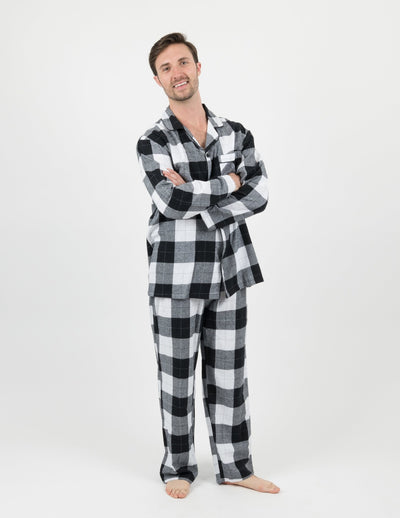 Mens Black & White Plaid Flannel Pajamas
