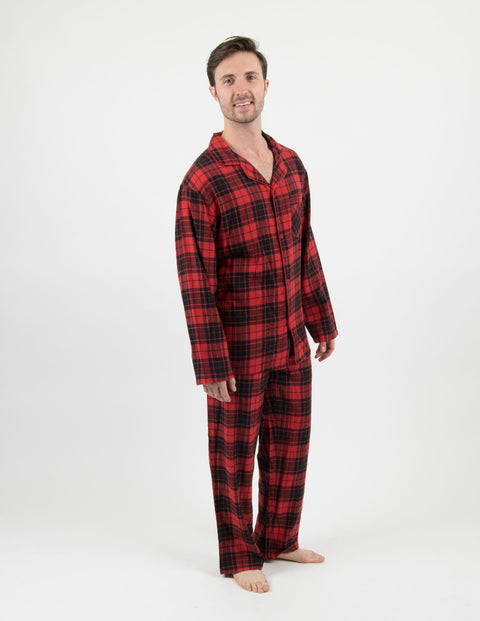 Mens Flannel Red & Black Button Down Pajamas