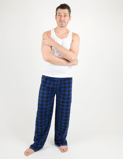 Mens Black & Navy Plaid Fleece Pants