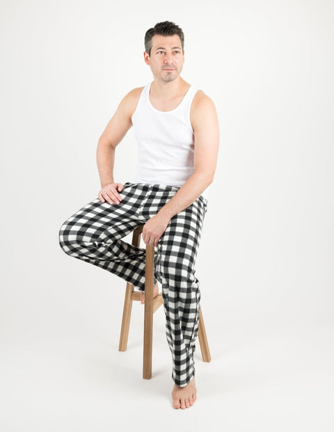 Mens Black & White Plaid Fleece Pants