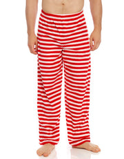 Men's Fleece Red & White Stripes Pants