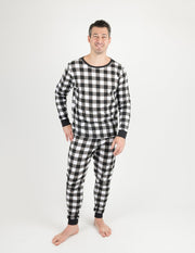 Mens Black & White Plaid Cotton Pajamas