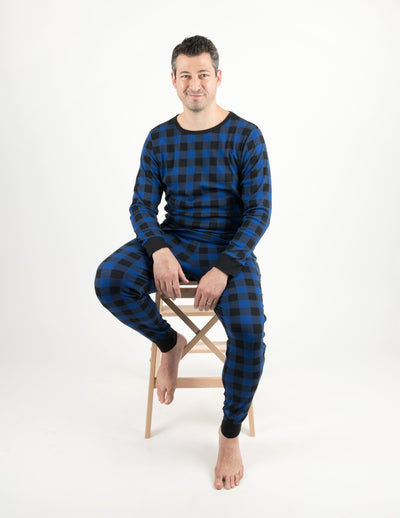 Mens Black & Navy Plaid Cotton Pajamas