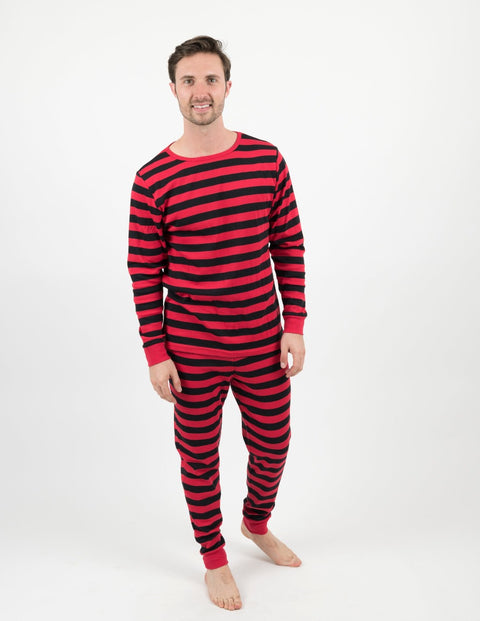 Mens Clearance Two Piece Red & Black Stripes Cotton Pajamas