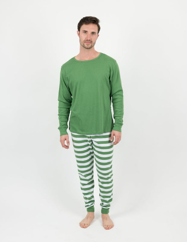 Green/White Stripes Cotton Pajamas Mens