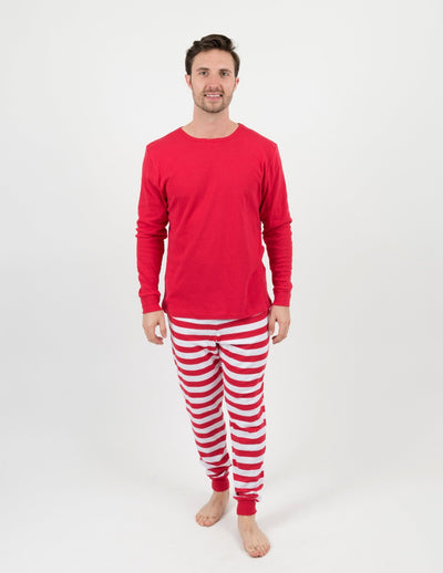Red/White Stripes Cotton Pajamas Mens