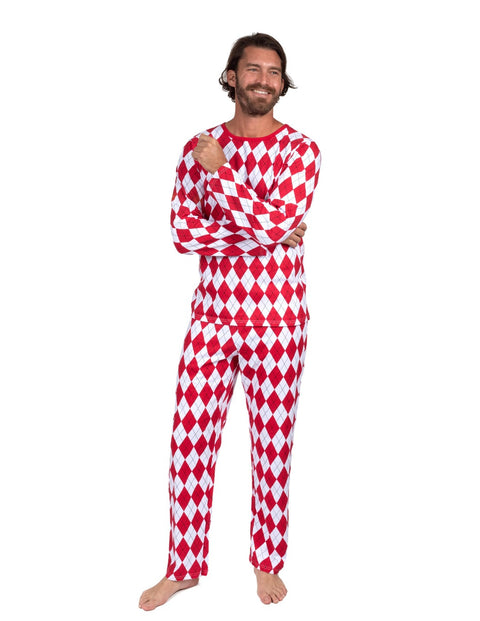 Mens Loose Fit Red & White Argyle Pajamas