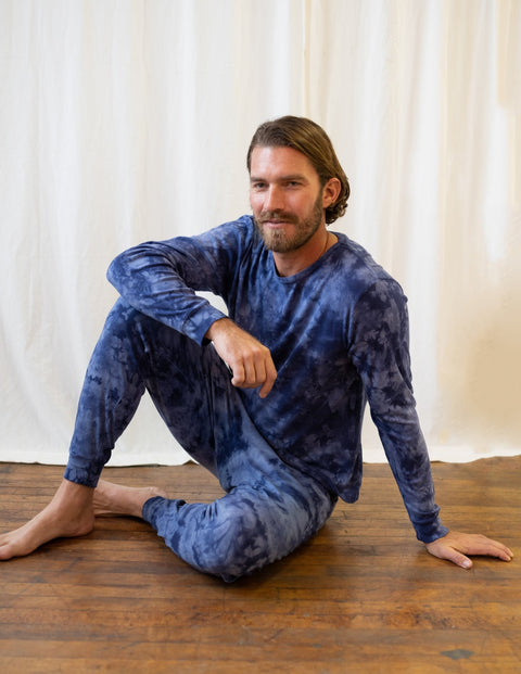 Mens Navy Mix Tie Dye Cotton Pajamas