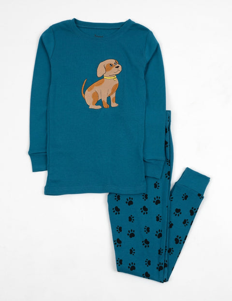 Kids Dog Blue Paw Print Pajamas