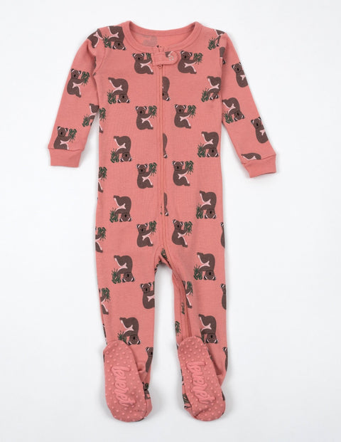 Kids Footed Pink Koala Cotton Pajamas
