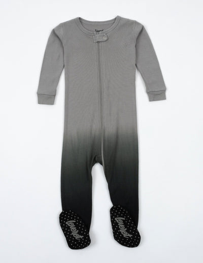 Kids Footed Grey Ombré Tie Dye Cotton Pajamas