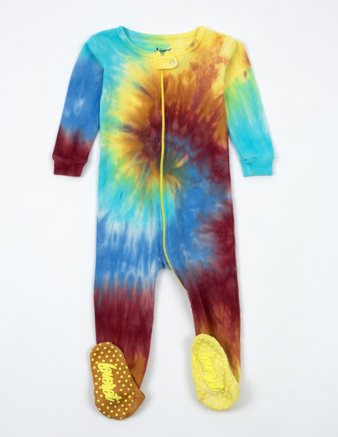 Kids Footed Boy Swirl Tie Dye Pajamas