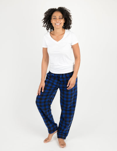 Womens Black & Navy Plaid Fleece Pants