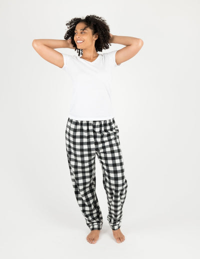 Womens Black & White Plaid Fleece Pants