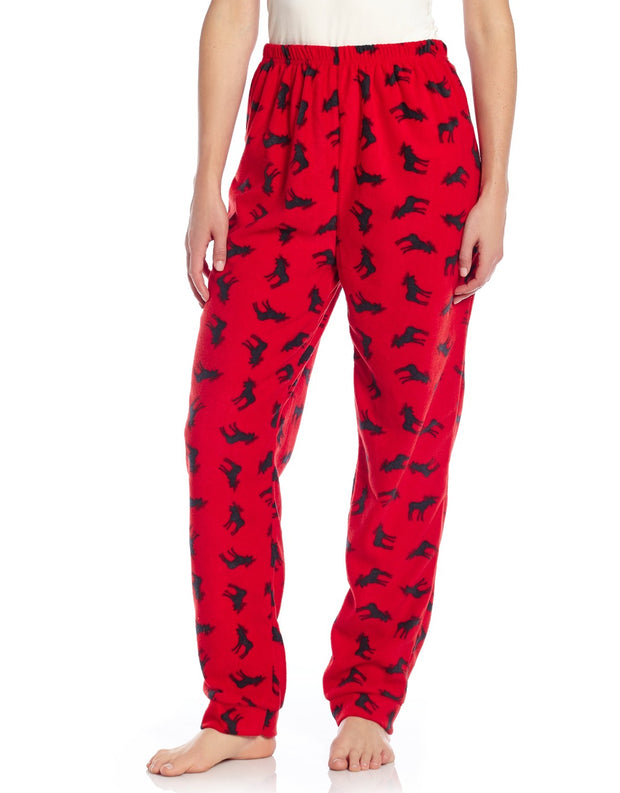 Womens Fleece Moose Pants