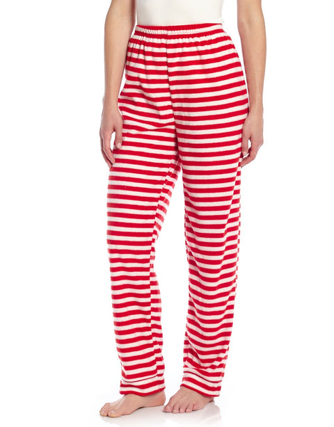 Women's Fleece Red & White Stripes Pants