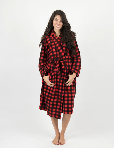 Womens Red & Black Plaid Fleece Robe