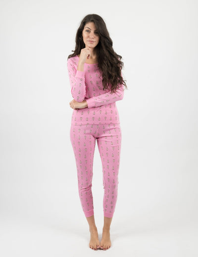 Womens Two Piece Cotton Pajamas