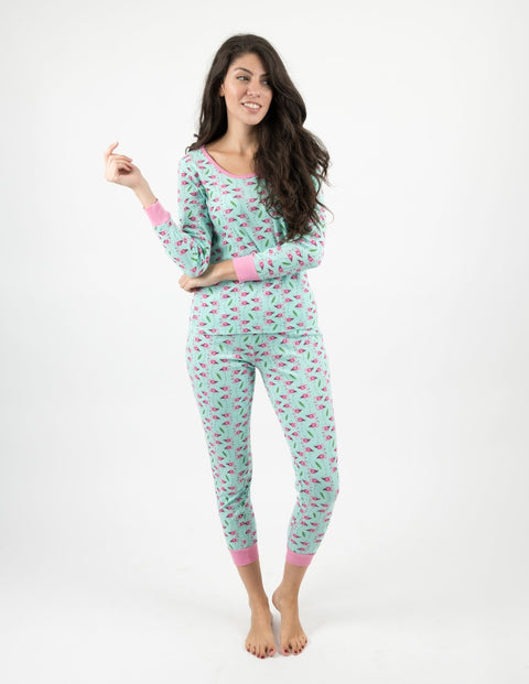 Womens Zoo Animals Cotton Pajamas