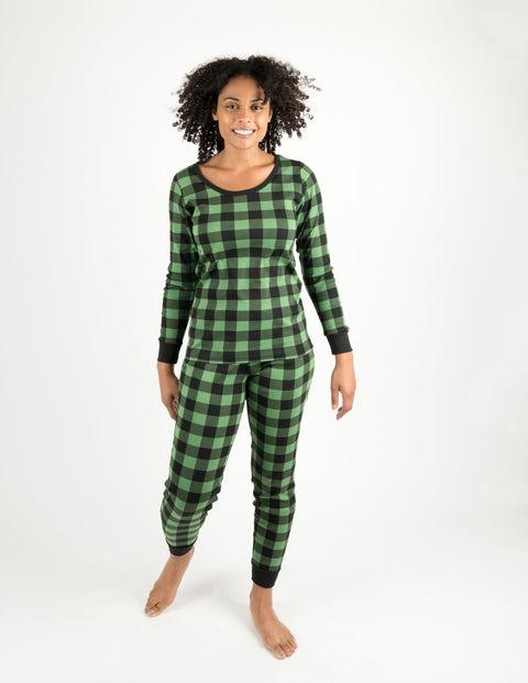 Womens Black & Green Plaid Cotton Pajamas