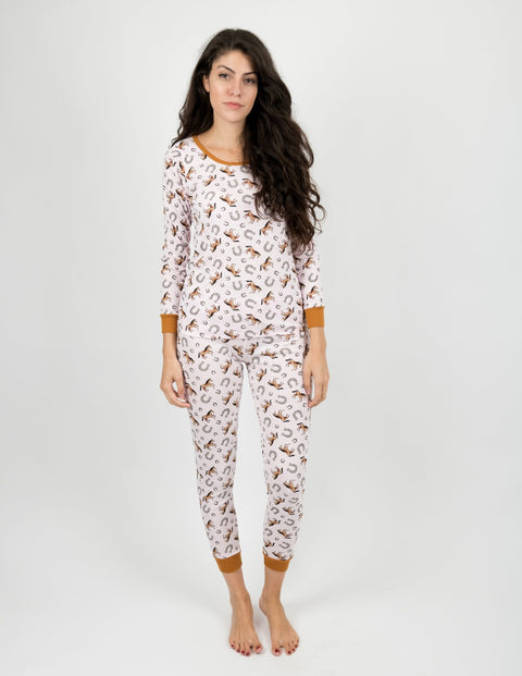 Womens Light Pink Horses Pajamas