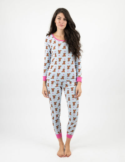 Womens Cotton Puppy Pajamas