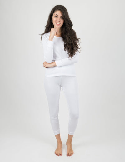 Womens Solid White Pajamas