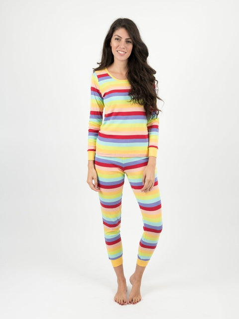Womens Cotton Rainbow Stripes Pajamas