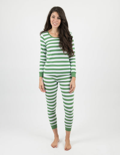 Womens Green & White Stripes Pajamas