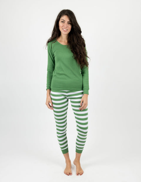 Womens Green & White Stripes Cotton Pajamas