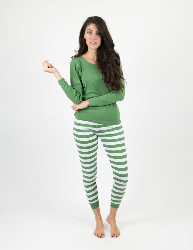 Womens Green Top & Stripes Pajamas
