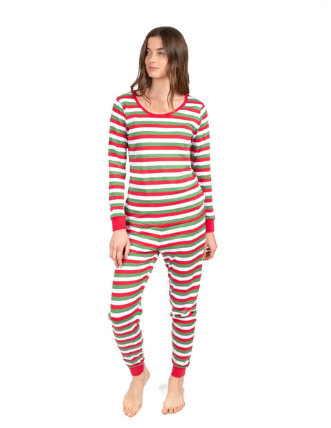 Womens Red, White & Green Cotton Pajamas