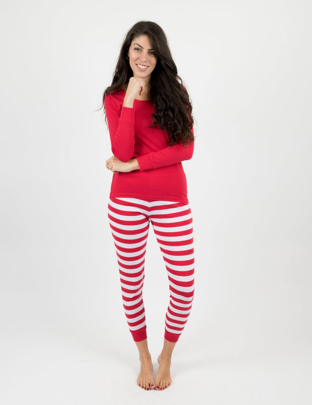 Womens Red & White Cotton Stripes Pajamas