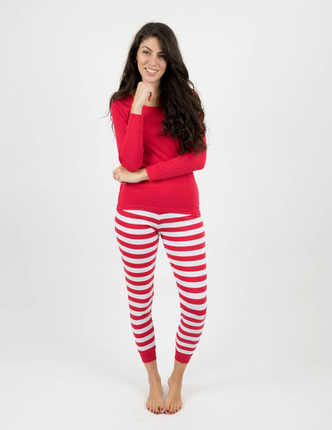 Womens Red Top & White Stripes Pajamas