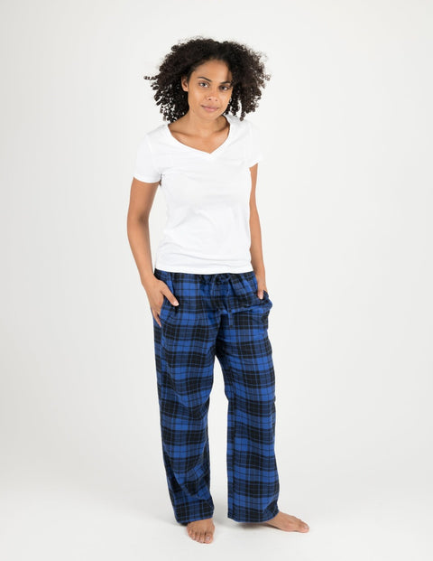 Womens Black & Navy Plaid Flannel Pants