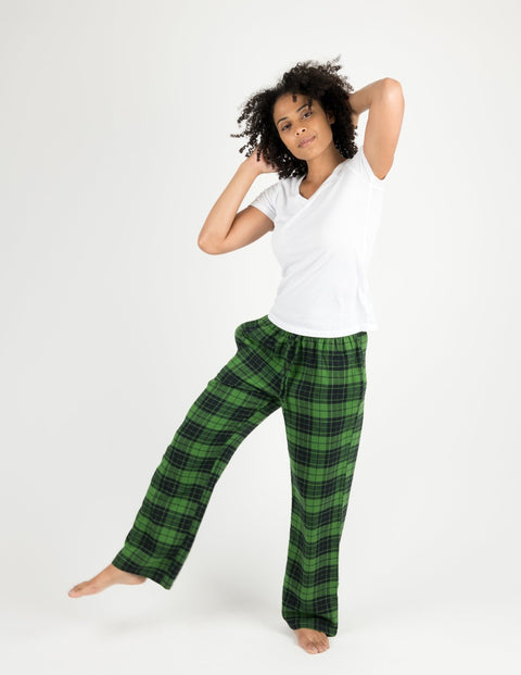 Womens Black & Green Plaid Flannel Pants