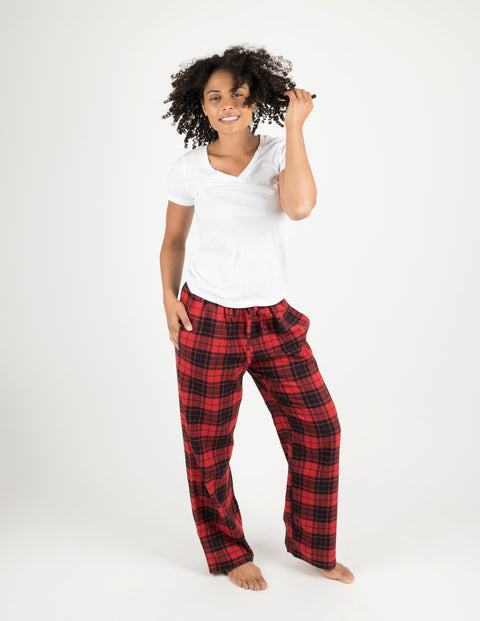 Womens Red & Black Plaid Flannel Pants